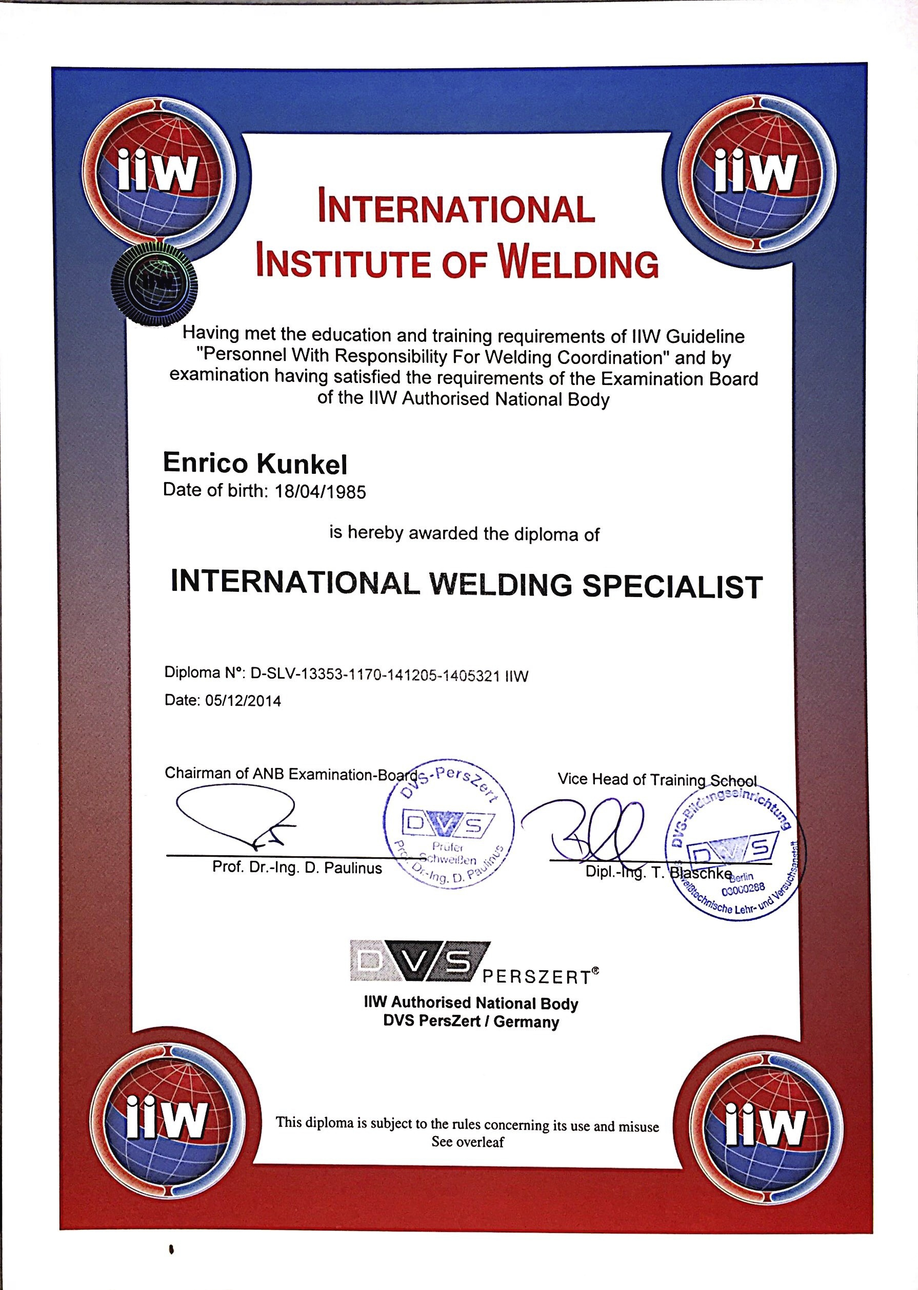 Zertifikat Kunkel Metall