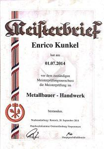Meisterbrief Kunkel Metall